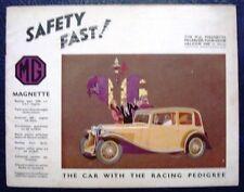 MG MAGNETTE RANGE Car Sales Brochure Oct 1933 #21844-9/33/50M
