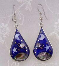 Alpaca Mexican Silver Enamel Shell Night Skies Earrings Fashion Jewelry NEW