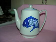 CERAMIC TEA POT WITH GOLD FISH DESIGN