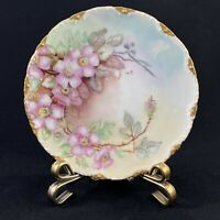 "THEODORE HAVILAND LIMOGES HAND PAINTED PLATE 6.25"" FLORAL & GOLD GILDIING SIGNED"