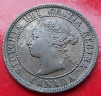Golden Brown Scarce 1888 Canada Bronze Cent of Victoria, Solid XF Sash details