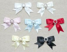 Diamante Buckle Craft Double Bows 🎀 Pack of 5 - 5cm 15mm Satin Ribbon 7 Colours
