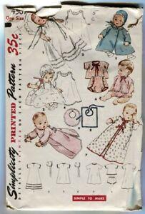VTG 1953 Simplicity 4507 Baby Infants Clothes Pattern Layette Bibs Bonnets Dolls