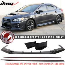 Fits 15-17 Subaru Impreza WRX STI MP Style Front + Rear Bumper Lip + Side Skirt