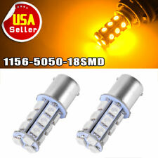2x Amber/Yellow 1156 BA15S 5050 18SMD LED Light bulbs Turn Signal Backup Reverse
