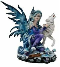 More details for winter fairy with howling wolf display figurine statue ornament