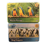 Set Of Nat Geo Wild Panorama Puzzles Macaw Parrots King Penguins Factory Sealed