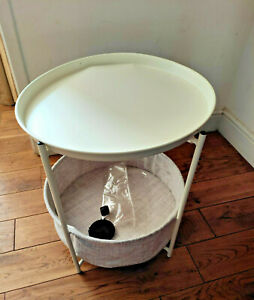 kingrack Sofa Side Snack Table,Coffee Round Table with Basket,Metal End Table