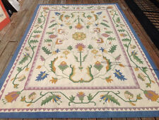 """Vtg 100% Wool Flatweave Turkish Kilim Country Floral Pastel Rug 6'x9' 78""""x116"""""""