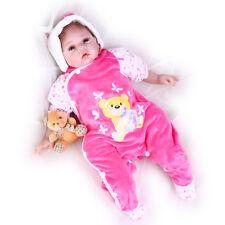 "Pompon Gift Set Lifelike Reborn Baby Doll Girl 22"" Soft Silicone Vinyl Handmade"