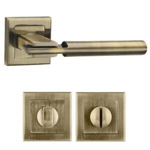 Interior Door Lever Handle on Square Rose Graphite, Satin Nickel/Chrome, Bronze