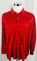 Vintage Tommy Hilfiger Golf Crest Logo Red Striped Polo Shirt Mens XL X-Large