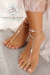 beach wedding barefoot sandals pearl bridal foot jewelry beaded barefoot sandals