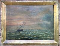 Antique Victorian Oil On Board Painting Seascape