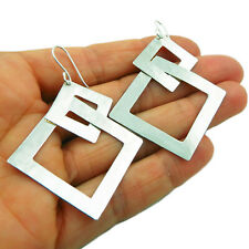 Square Hoops 925 Sterling Silver Drop Earrings in a Gift Box