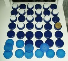 PLASTIC MILK BOTTLE TOPS x 57 ASSORTED COLOURS ART/CRAFTS/SCHOOL/HOME PROJECTS
