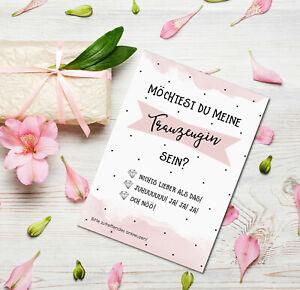 Postkarte Trauzeugin fragen zum Ankreuzen inkl. Umschlag Geschenk Trauzeugin