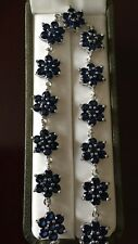 """Beautiful Simulated Blue Sapphire Floral Silver Plated Bracelet - Size 7.5"""""""