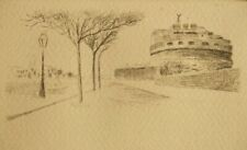 Illegible pencil signed original etching; Castel Sant' Angelo, Rome, 1930's