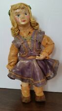 Antique Paper Mache Girl Doll All Wax Over Paper Spaghetti Hair Blond 7""