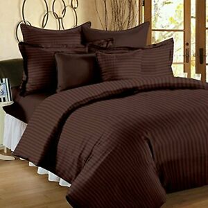100%Cotton Double King Size Bedsheet +2 Pillow Covers Premium Platinum (Cofee)