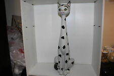"""Impressive Vintage Mid-Century Hand Painted Pottery 29.5"""" Tall Cat Statue-Italy"""