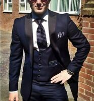 Dark Blue Man Best Men Suits Jacket Suit Wedding Groom Tuxedos Formal Prom Plus