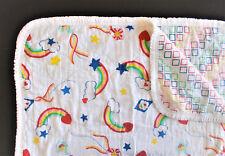 VTG BABY Rainbow Kite Hearts Ribbon CRIB QUILT BLANKET, Geometric 44x31  Pride