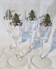 Tienshan Holiday Hostess Christmas Tree Fluted Champagne Set of 4