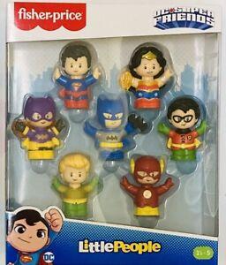 NIB Fisher Price Little People DC Super Friends Figure Pack of 7 Batman Superman