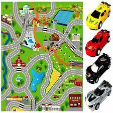 GIANT KIDS CITY PLAYMAT FUN TOWN CARS PLAY VILLAGE FARM ROAD CARPET RUG TOY MAT