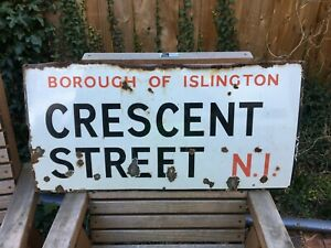 VINTAGE 1930'S PORCELAIN ENAMEL LONDON ROAD SIGN CRESCENT STREET N1 ISLINGTON
