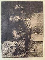 Angèle Delasalle gravure eau forte etching Étude De Femme Nu Féminin