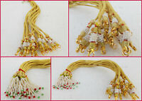 Ethnic Indian Gold Plated Dulhan Necklace Chain Mala Dori Lot 12 pc Lockable Set