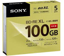 5 Sony Blu Ray 100 GB BDXL Discs BD-RE BDXL 3D Bluray Triple Layer Bluray Discs