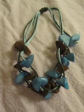 Turquoise & Brown Plastic Chip Adjustable Fabric Bracelet - NWOT