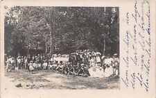 Arthur Iowa Postmark~Huge Family? Gathering~Group Photo~Band in Front~1908 RPPC