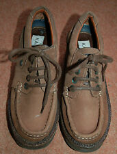 NEW Kangol Sz 7 Light brown nubuck suede Moccasins block heel Shoes Rubber soles