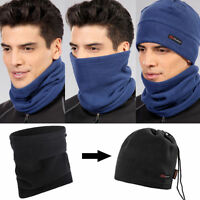 Winter Sport Thermal Polar Fleece Scarf Snood Neck Warmer Face Mask Beanie Hat