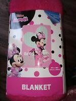"Disney Junior Minnie Mouse Pink Plush  Blanket 62""×90"" New Super Soft"