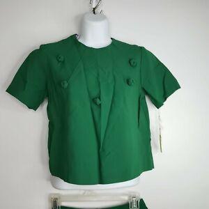 Vintage 60s Kelly Green 2-Piece A-line Skirt Crop Jacket Suit Set Size 11