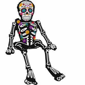 HALLOWEEN DAY OF THE DEAD AIR SITTING SKELETON BALLOON PARTY DECORATION FIESTA