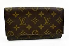 "Authentic LOUIS VUITTON: Brown ""LV"" Logo, Long Folding Wallet/Organizer (m)"