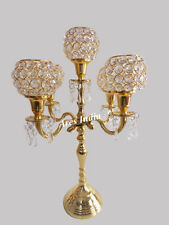 19 inch 5 Arm Crystal Candelabra Wedding Centrepieces Candle Holder Gold Finish