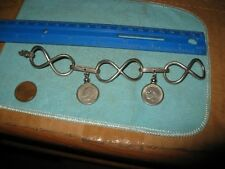 "With Keeper 6 3/4"" 1.0 Oz Greek 2 Coin Charm Infinity Love Bracelet"