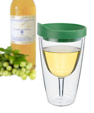 Insulated Wine Tumbler 16oz Verde Lid Vino Double Walled Acrylic Adult Sippy Cup