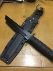 Ka-Bar Tanto 1245 Serrated Knife 1095 Cro-van Steel Black Fixed Blade w/ Sheath