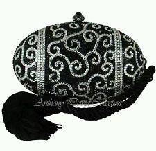 Anthony David Black & Silver Oval Egg Clutch Evening Bag with Swarovski Crystals