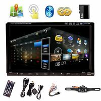 "Camera+7"" In Dash 2 Din Car Stereo DVD Player GPS Navigation 3D Bluetooth"