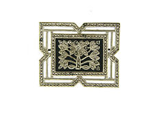 Vintage Signed Sterling Silver Onyx & Marcasite Deco Square Framed Floral Pin
